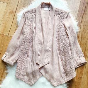 Chico's lightweight pink lace drape front blazer
